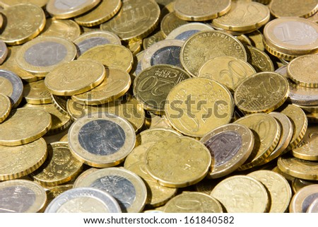 heap of euro coins isolated on a white background - stock photo