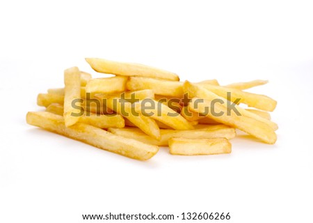 heap of french fries over white background