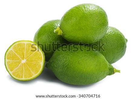 Heap of fresh lemon isolated on white background. - stock photo