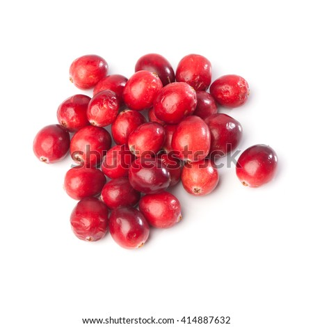Heap of fresh red cranberries, isolated on white background