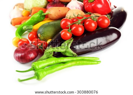 Heap of fresh vegetables close up