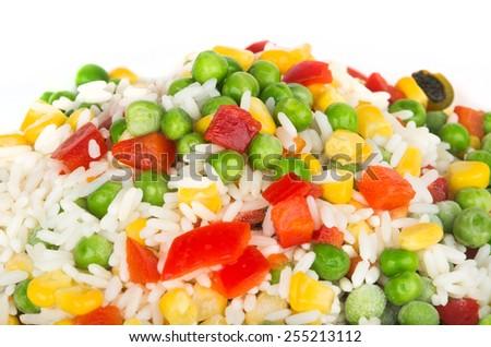 Heap of frozen vegetable mix - stock photo