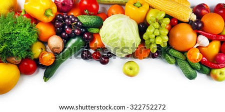 Heap of fruits and vegetables isolated on white - stock photo