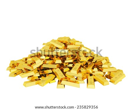 Heap of gold bars - stock photo