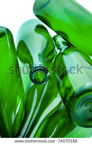 heap of green bottles of glass for recycle - stock photo
