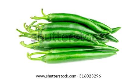 Heap of green capsicum pepper - stock photo