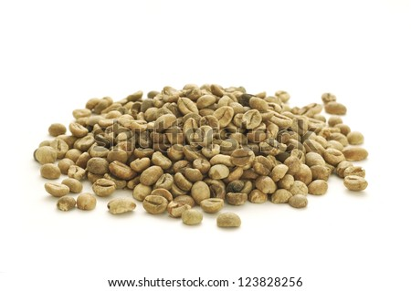 heap of green coffee beans - stock photo