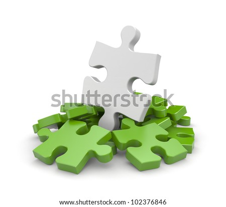 Heap of jigsaw puzzles with one different - stock photo