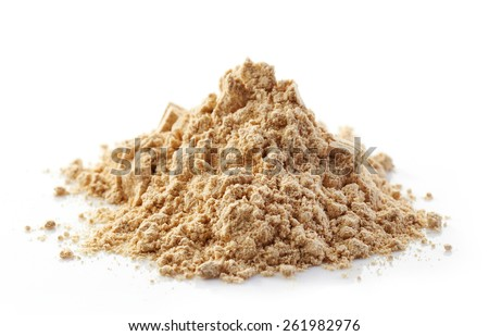heap of maca powder isolated on white - stock photo