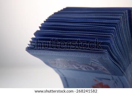 Heap of Malaysia Ringgit bills close up - stock photo