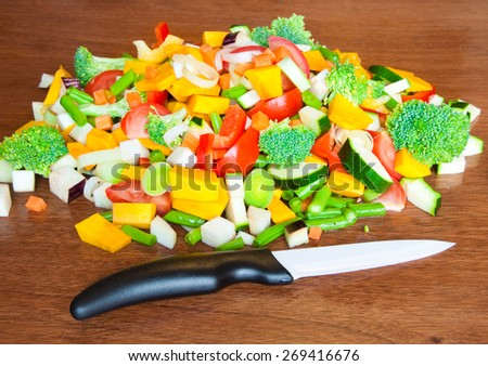 Heap of mixed cut vegetables - stock photo