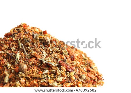 Heap of mixed spices on white background