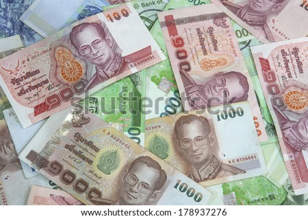 Heap of money using as background - stock photo