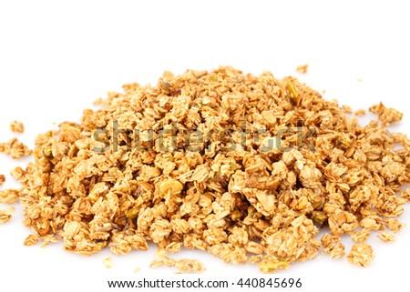 Heap of muesli on white background. - stock photo