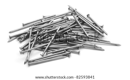 heap of nails isolated on white