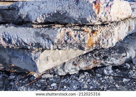 Heap of old and damaged concrete blocks. - stock photo
