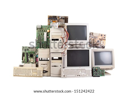 heap of old computers  - stock photo