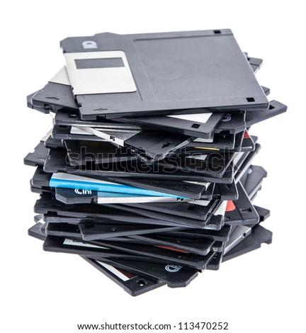 Heap of old Floppys isolated on white - stock photo