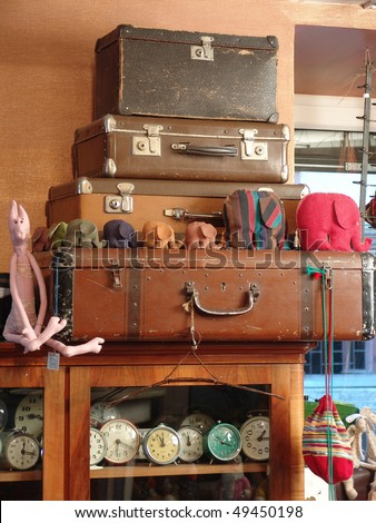 Heap of old suitcases - stock photo