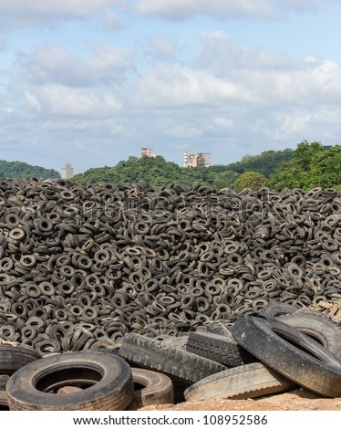 Heap of old Tires  in recycling plant in Thailand - stock photo