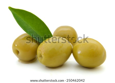 heap of olive on white  - stock photo