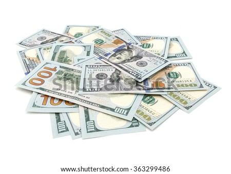heap of one hundred dollars banknotes isolated on white