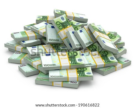 Heap of packs of euro. Lots of cash money. 3d - stock photo