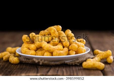 Heap of Peanut Puffs (selective focus; detailed close-up shot) - stock photo