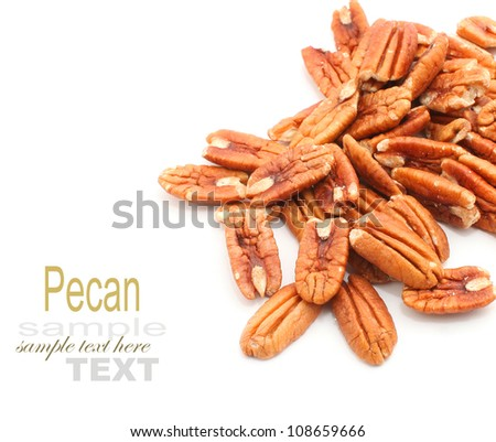 heap of pecan nuts on white background - stock photo
