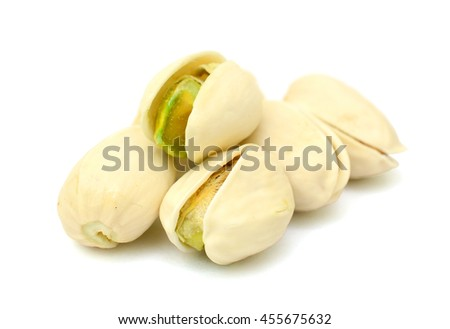 Heap of pistachios nuts isolated on white background - stock photo