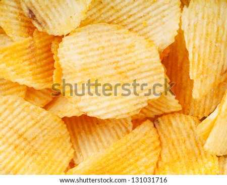 Heap of potato chips closeup