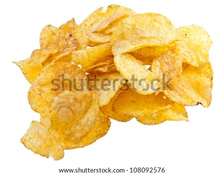 Heap of potato chips isolated on white background