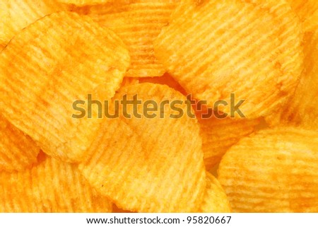 Heap of potato chips texture for background