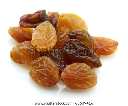Heap of raisin on a white background