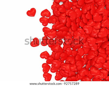 Heap of Red Hearts on white background with place for your text - stock photo