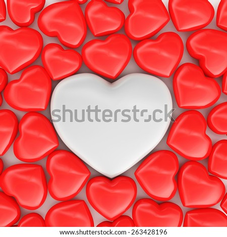 Heap of red hearts with one big white heart. Happy Valentine's Day or Love concept - stock photo