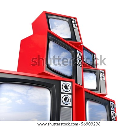 Heap of Retro TV with reflected sky - stock photo