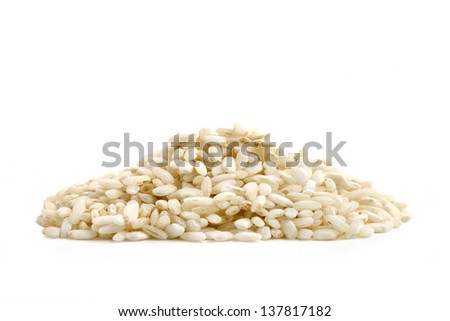 heap of rice isolated on white background - stock photo