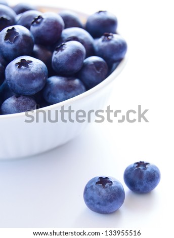 Heap of Ripe Blueberries in the White Bowl on the White Background