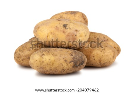 Heap of ripe potatoes isolated on white background - stock photo