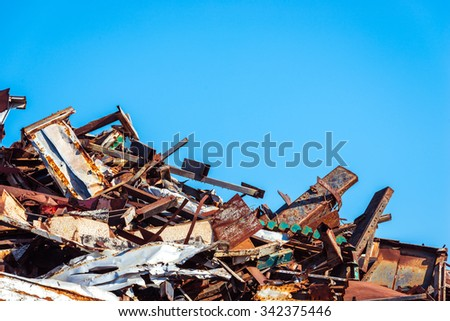 Heap of scrap metal ready for recycling - stock photo