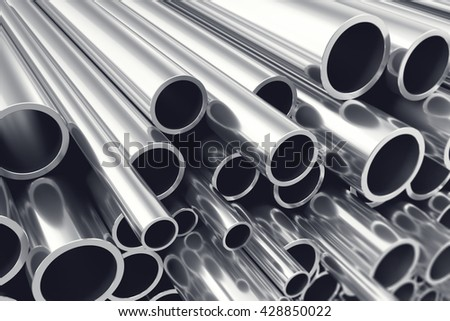 Heap of shiny metal steel pipes with selective focus effect. 3d illustration