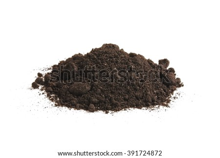 Heap of soil humus, isolated on a white background. Pile black earth. - stock photo