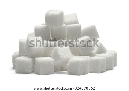 Heap of Sugar Cubes Isolated on White Background.