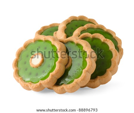 Heap of sweet cookies isolated on white - stock photo