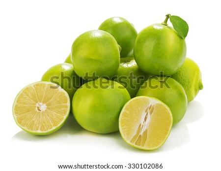 Heap of sweet lemon isolated on white background. - stock photo