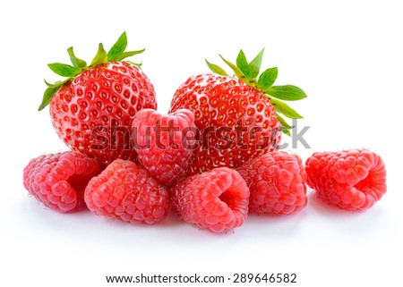 Heap of Sweet Strawberries and Juicy Raspberries Isolated on the White Background. Summer Healthy Food Concept - stock photo