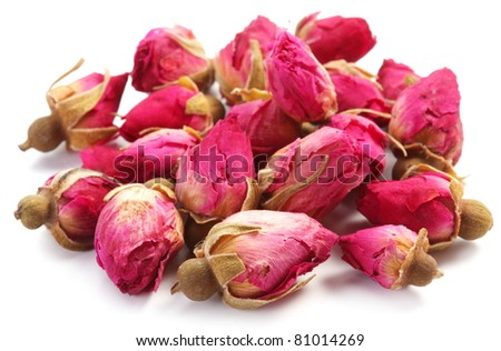 Heap of tea roses isolated on a white background. - stock photo