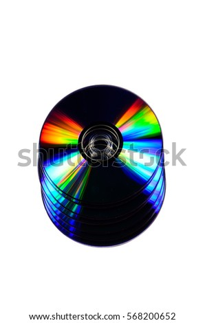 Heap of the cd disks isolated on a white background