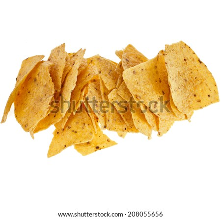 heap of tortilla nachos chips isolated on white background - stock photo
